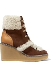 See By Chloe Leather And Shearling Trimmed Suede Wedge Boots Chocolate