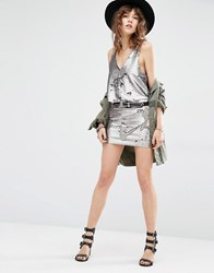 Mango All Over Sequin Mini Skirt Silver