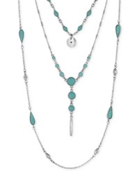 Lucky Brand Silver Tone Layered Turquoise Look Bead Necklace
