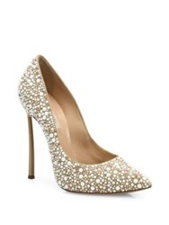 Casadei Blade Heel Faux Pearl Embellished Leather Point Toe Pumps Oasi