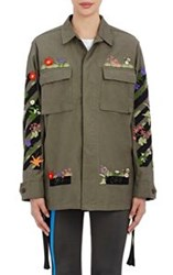 Off White Embroidered Field Jacket Green