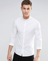 Asos Skinny Shirt In White With Grandad Collar And Long Sleeves White
