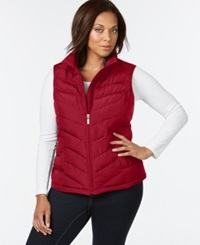 Charter Club Plus Size Chevron Quilted Vest Only At Macy's New Red Amore