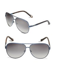 Fossil 63Mm Aviator Sunglasses Black