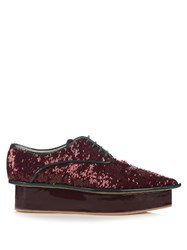 Delpozo Sequin Flatform Derby Shoes Burgundy