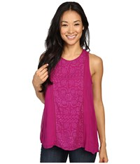 Lucky Brand Pop Color Embroidered Tank Top Fuchsia Women's Sleeveless Pink