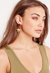 Missguided Leaf Drop Earrings Gold Gold