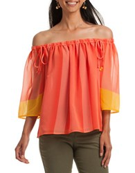 Trina Turk Yamille Three Quarter Sleeve Off The Shoulder Top Orange