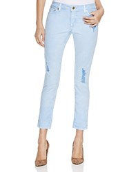 Michael Michael Kors Distressed Cropped Skinny Jeans In Pale Crew Blue
