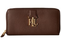 Lauren Ralph Lauren Carrington Zip Wallet Burnished Brown Wallet Handbags