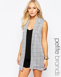 New Look Petite Check Print Sleeveless Blazer Greypattern