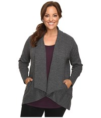 Lucy Extended Tranquility Slub Wrap Asphalt Heather Women's Sweater Gray