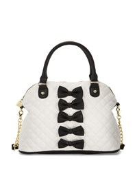 Betsey Johnson Chic Bows Dome Satchel Bag Black