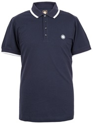 Pretty Green Multistripe Collar Polo Navy