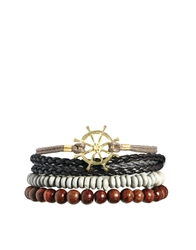 Asos Bracelet Pack With Nautical Detail Gold