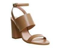 Office Time 3 Strap Block Heel Sandals Nude