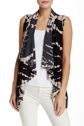 Gypsy05 French Terry Draped Lapel Vest Black