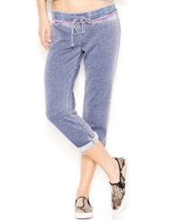 Guess Drawstring Crop Sweatpants Evening Blue Multi