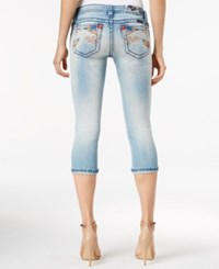 Miss Me Embroidered Cropped Light Blue Wash Jeans