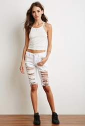 Forever 21 Distressed Bermuda Shorts White
