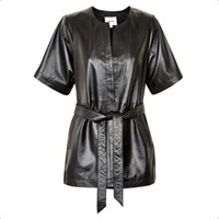 Gestuz Black Belted Leather Jacket