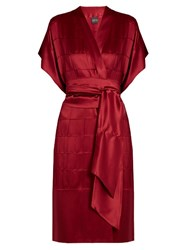 Carine Gilson Silk Satin Robe Burgundy