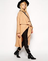 Asos Oversized Coat With Waterfall Drape Camel