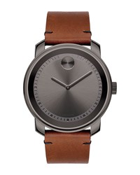 Movado 42Mm Large Bold Watch With Leather Strap Brown