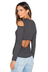 Monrow Open Back Cut Out Tee Charcoal