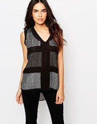 Hazel Embellished Sheer Tank Black