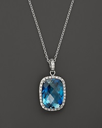 Bloomingdale's 14K White Gold Diamond And London Blue Topaz Cushion Necklace