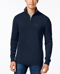 Tommy Hilfiger Men's Ribbed Quarter Zip Sweater Navy Blazer Heather