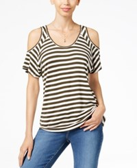 Kut From The Kloth Cold Shoulder Striped Top Off White Olive