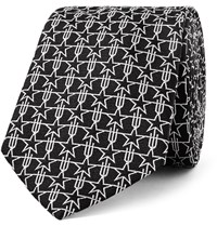 Givenchy Star Patterned Silk Jacquard Tie Black