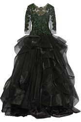 Marchesa Embellished Tulle And Ruffled Organza Gown Black