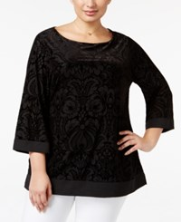 Charter Club Plus Size Velvet Burnout Tunic Only At Macy's Deep Black