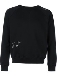 Saint Laurent Crystal Embellished Sweatshirt Black