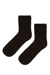 Topshop Zig Zag Stitch Ankle Socks Black