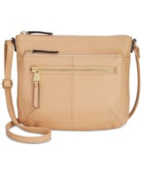 Tignanello Pretty Pockets Smooth Leather Crossbody With Rfid Protection Dune