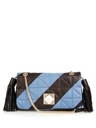Sonia Rykiel Le Clou Quilted Leather Shoulder Bag Black Blue