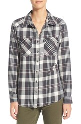 Billabong Women's 'Flannel Frenzy' Plaid Flannel Shirt Off Black