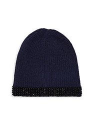 Collection 18 Embellished Knit Beanie Black Paint Floral