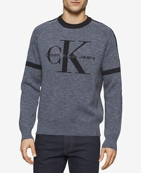 Calvin Klein Jeans Men's Jacquard Indigo Sweater Light Indigo