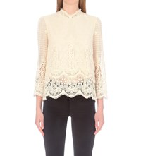 Mih Jeans Esbaran Crochet Lace Top Off White