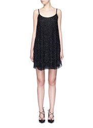Alice Olivia 'Rhi' Beaded Sheer Strappy Dress Black