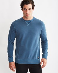 Only And Sons Mens Crew Neck Sweatshirt With Eyelet Detail Blue