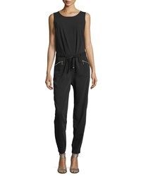 Neiman Marcus Sleeveless Pleated Zip Pocket Jumpsuit Black