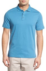 Men's Nordstrom Men's Shop Trim Fit Interlock Knit Polo Teal Steel