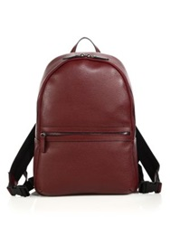 Saks Fifth Avenue Tumbled Leather Backpack Black Dark Red