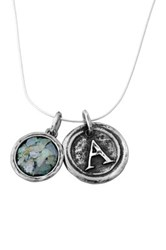 Sterling Silver Roman Glass Initial Pendant Necklace Multiple Letters Available